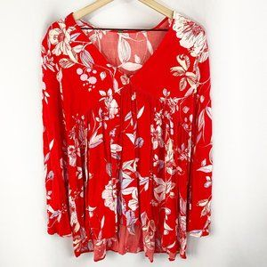 Free People Floral Bell Sleeve Bella Tunic Small